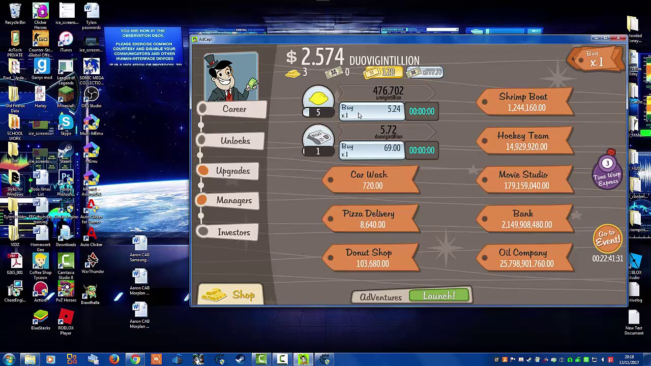 Cheat | Adventure Capitalist Hack | 100% Working Online Hack