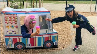 Police Buy Ice Cream from the Ice Cream Truck!! Kids Pretend Play part 3