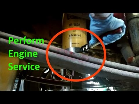 How To Perform A Professional Cat Diesel Engine Service.  Cat Engine Oil Change.
