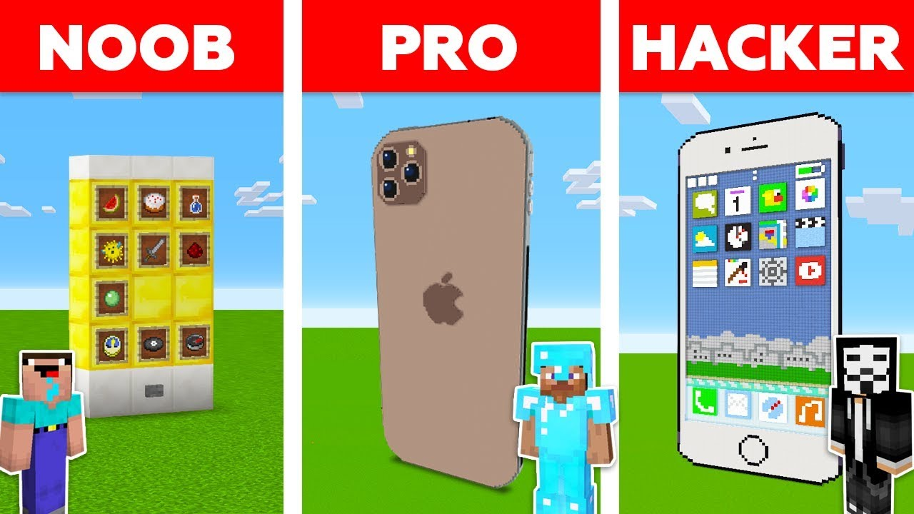 Minecraft NOOB vs PRO vs HACKER: IPHONE BUILD CHALLENGE in Minecraft / Animation thumbnail