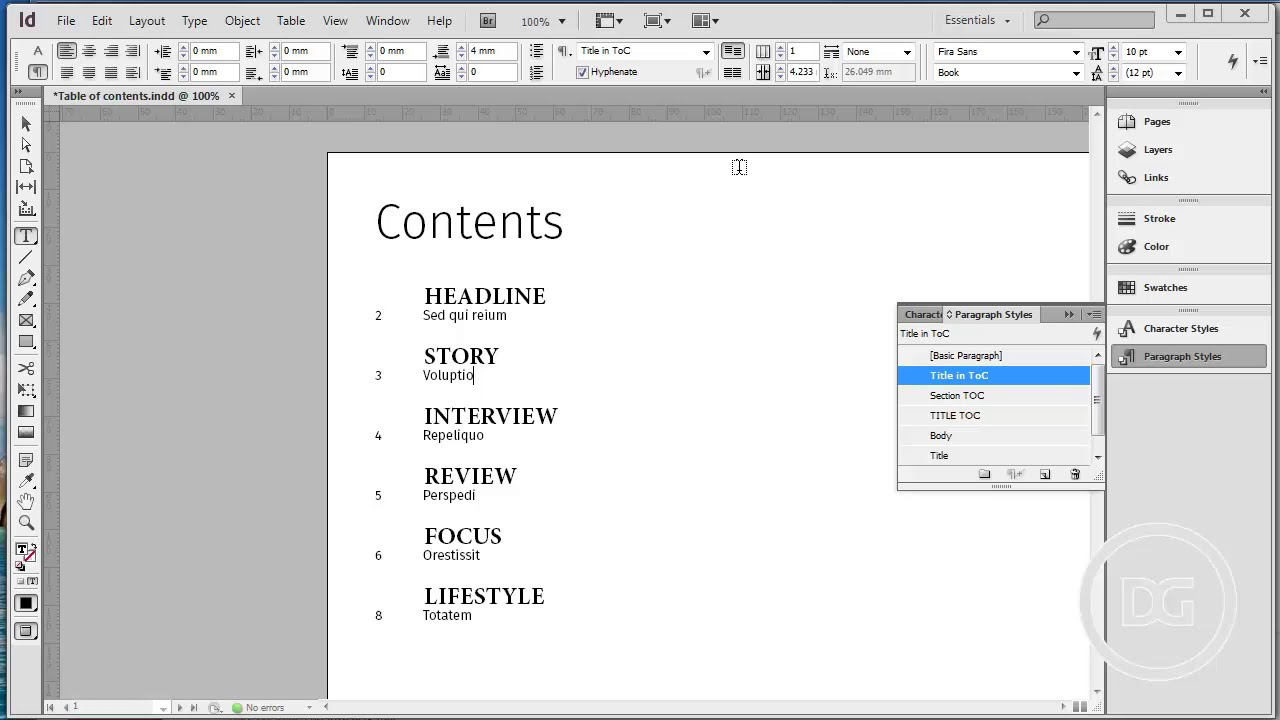 How to create table of contents in adobe indesign youtube for Indesign table