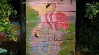 Художественная роспись стен, летний душ в саду на даче. Фламинго, журавли, лебеди.(Это видео можно смотреть в HD качестве В этом видео я показываю художественную роспись стен, нашего летнего..., 2015-03-20T15:36:13.000Z)