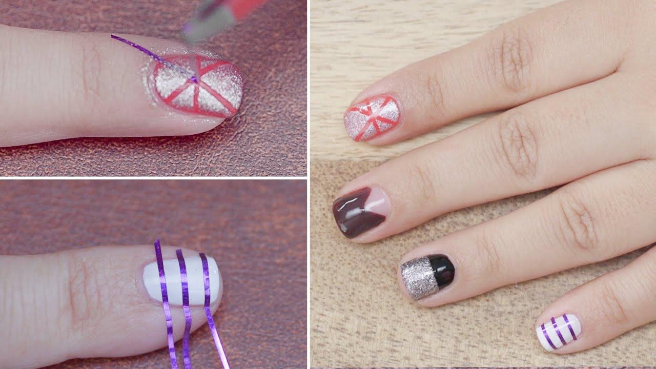 5 Nail Art Using Striping Tape: Beginners Series - YouTube
