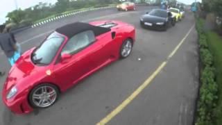supercars on ecr chennai ferrari f430 r8 v10 m3 porsche 911 evo x