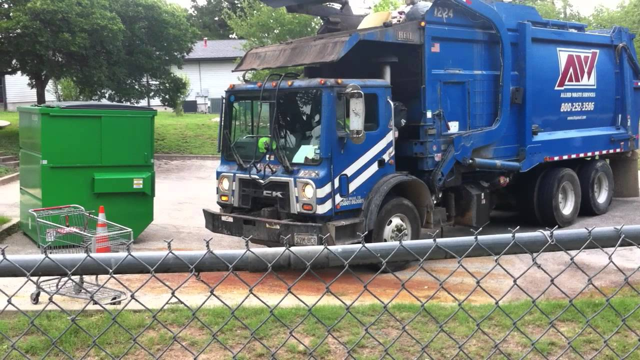 Blue Garbage Truck Dumping Blue Dumpster Youtube