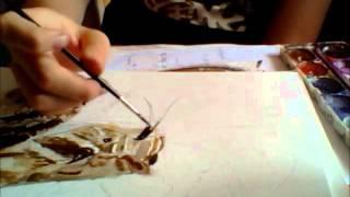 Me painting an eastern diamondback rattlesnake
