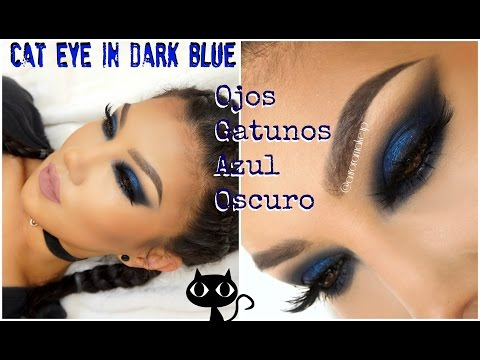 Maquillaje Gatuno Azul Oscuro / Intense Night Blue Cat Eye makeup | auroramakeup
