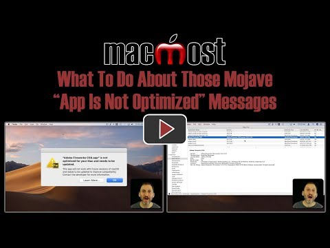 """What To Do About Those Mojave """"App Is Not Optimized"""" Messages (MacMost #1843)"""