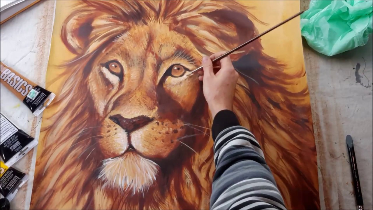 Painting A Lion Youtube See more ideas about lion face, tattoo outline, lion tattoo. painting a lion