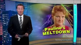 pauline hanson refusing to answer questions about financing on today tonight 01 mar 2009