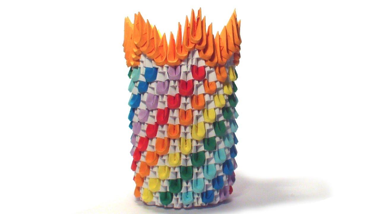 3D Origami Rainbow Vase Tutorial