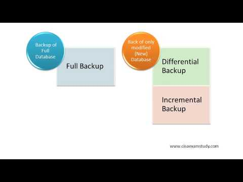 Testing Concept- Backup Schemes (Full /Differential /Incremental Backup) ( CISA Domain 4)