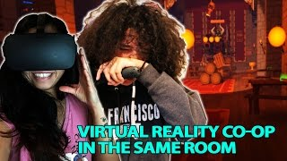 We are playing Rec Room's Quest in VR and in the same room on both ...