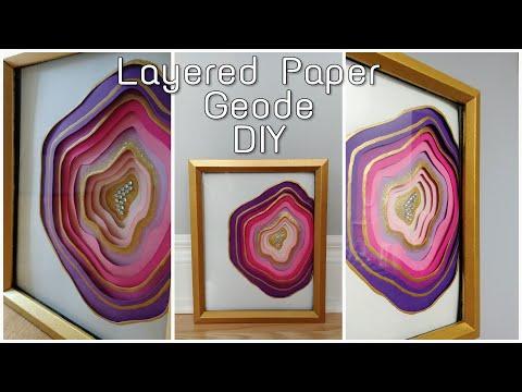 DIY LAYERED PAPER SHADOW BOX GEODE ART