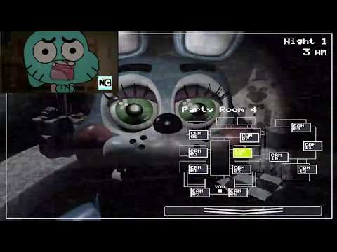 gumbal y darwin juegan a five night at fredy's 2