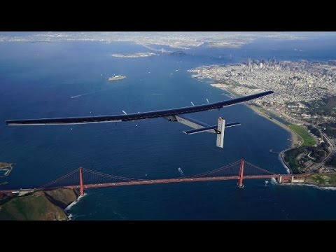Solar-powered plane lands in California