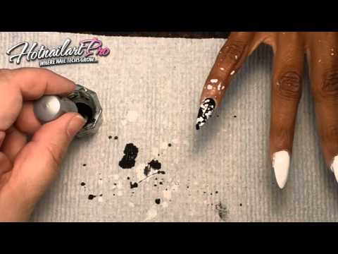 Splatter Paint Black and White Nail Art Tutorial