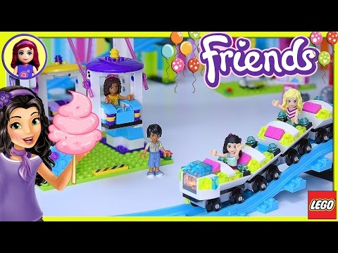 Lego Friends Amusement Park Ferris Wheel Roller Coaster Part 2 Build Review Silly Play - Kids Toys