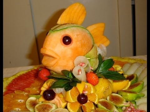 HOW TO MAKE A FISH WITH MELON - By J. Pereira Art Carving Fruits and Vegetables