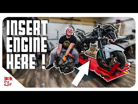 Getting the engine BACK IN the motorcycle! [Wrecked Bike Rebuild - S2 - Ep 09]