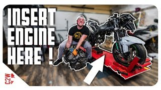 Getting the engine BACK IN the motorcycle! [Wrecked Bike Rebuild - S2 - Ep 09] thumbnail