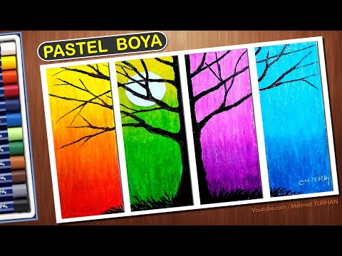 Pastel Boya Resim Cizimi Renk Karisimi Teknigi Oil Pastel