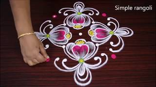 Very Creative rangoli no one seen before - Simple kolam art design with 7 dots -  Pattern muggulu