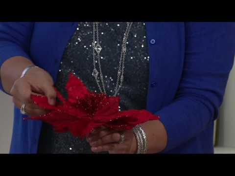 """Set of 6 12"""" Velvet Glittered Poinsettia Picks on QVC"""