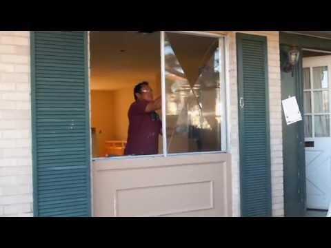 Replacing old window with new vinyl 2-1 slider window, Terrytown, LA
