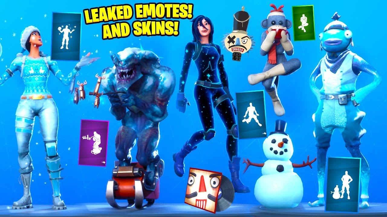 Leaked Christmas Skins Fortnite 2020 Leaked Christmas Skins & Emotes! [Leapin' , Ring It On, Frozen