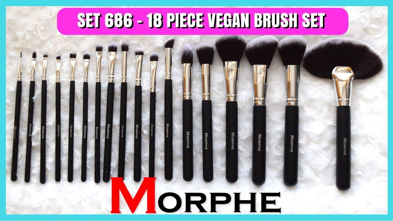 morphe brush set gold. 18 piece vegan brush set | morphe 686 + demo myfioristyle morphe brush set gold