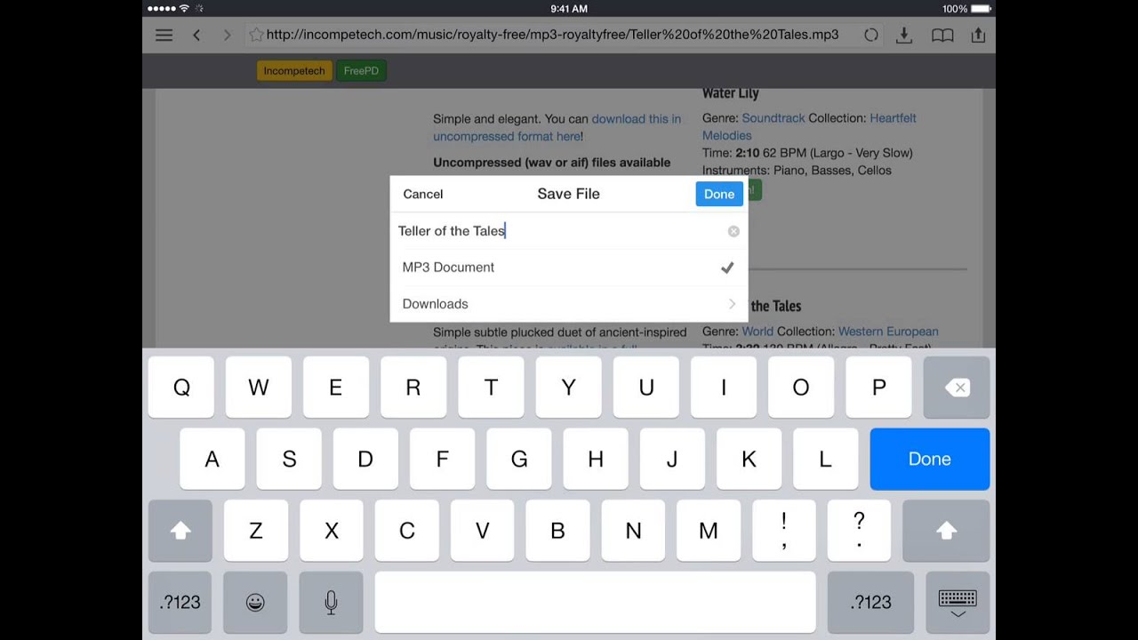 Using Documents App to Download Music