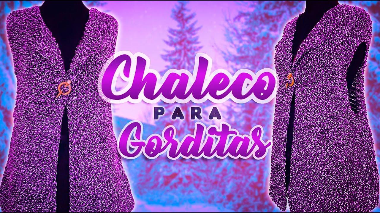 TEJE CHALECO PARA GORDITAS A PALITOS | Canela♥