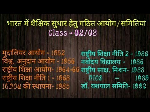 Education Commissions In India Class - 02/03, For DSSSB/KVS/CTET/UPTET and all other exams