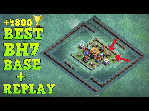 BEST Builder Hall 7 Base +4800 Trophy w/ Replay GIANT CANNON | CoC BH7 Builder Base | Clash of Clans