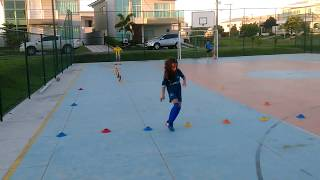 Conditioning, motor coordination, fitness, dribbling and shooting.  Coach Marcos Alves