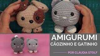 Crochê Amigurumi – Cãozinho e Gatinho