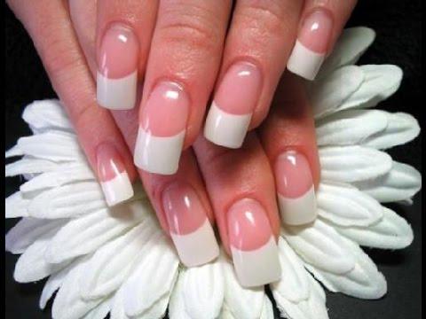Como poner uñas de acrilico punta blanca o diseño frances paso a paso PRINCIPIANTE