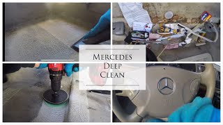 Deep Cleaning a 250k miles Mercedes - Detailing a Disaster Interior!
