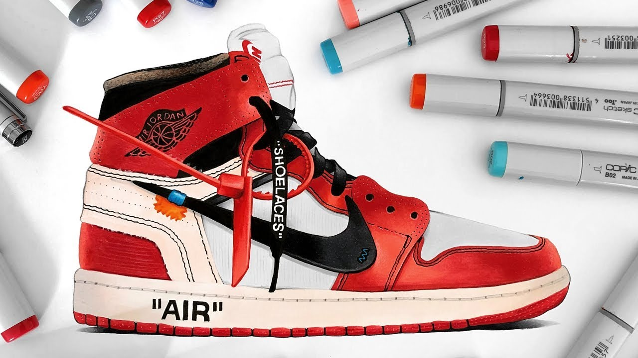 2163bcdbb70f43 Drawing Off-White x Nike Air Jordan 1 - YouTube