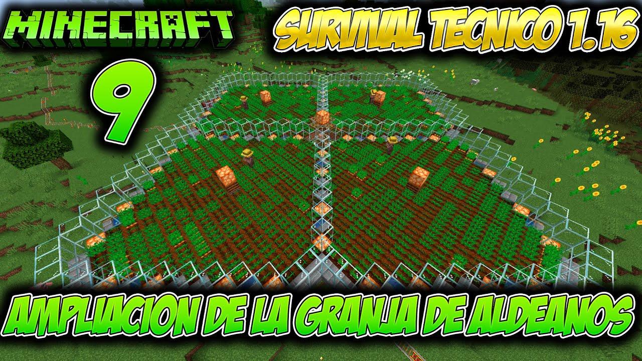 INICIO DE AMPLIACIÓN DE LA GRANJA DE ALDEANOS   Survival técnico en Minecraft 1.16   #9