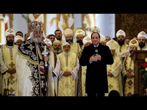 شاهد: أقباط مصر يحتفلون بعيد الميلاد في حضور السيسي