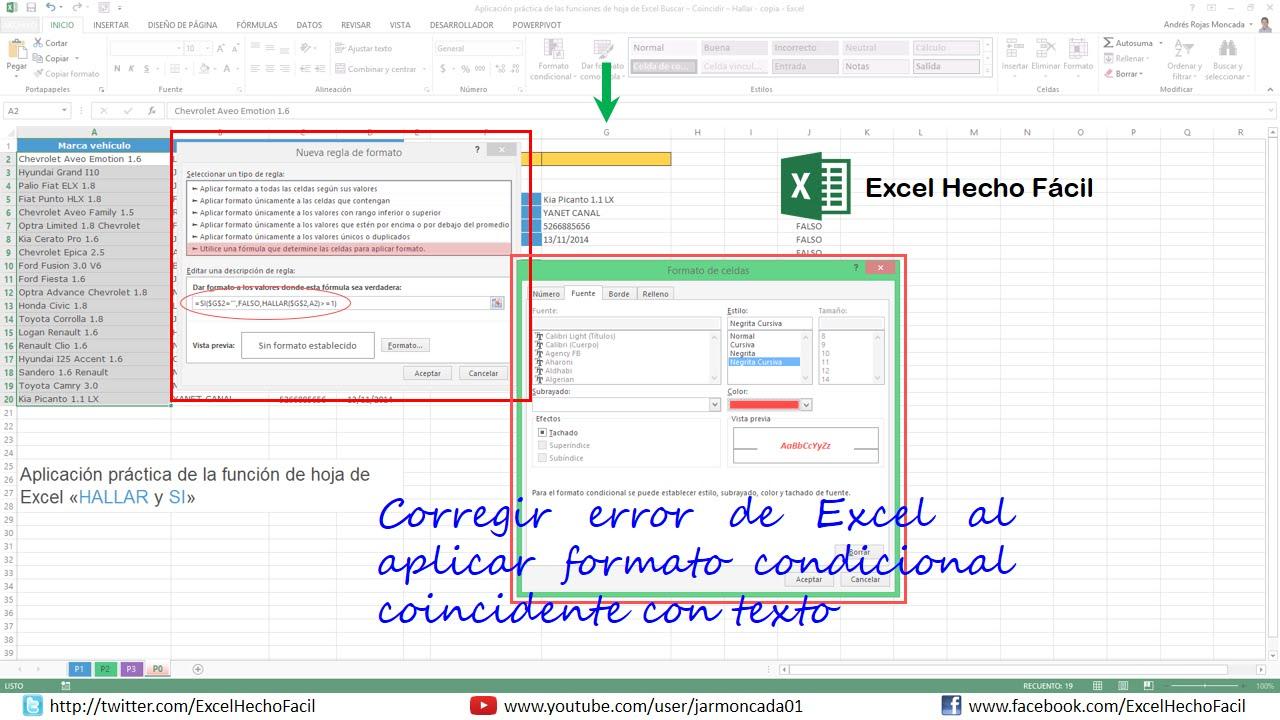 Corregir error de Excel al aplicar formato condicional coincidente ...