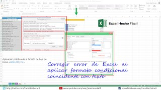 Corregir error de Excel al aplicar formato condicional coincidente con texto