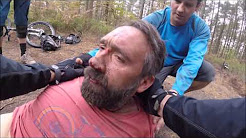 Over the bars mountain bike crash - Rider knocked unconscious.