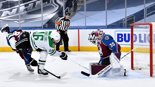 Hutchinson saves Avs with first career playoff win