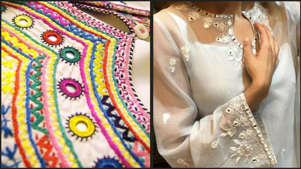Mirror Work Embroidery patterns and Idea's For Kurti,dupatta,Neck  and Sleeves Designs/mirror l