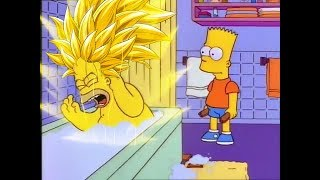 Homer goes Super Saiyan 3 after Bart hits him with a chair