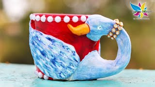 Best Out of Waste Craft ideas | Old Broken Tea Cup! | DIY Peacock Home Decor |by SuchetaCreations