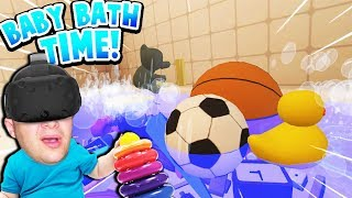 CAN BABY PLUG UP THE BATHTUB WITH ALL HIS TOYS AND FLOOD THE HOUSE?! | Baby Hands VR Gameplay